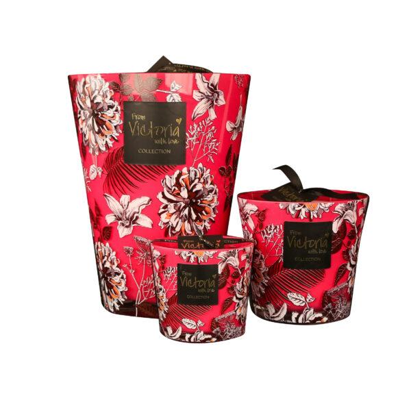 Kaarsen candle kerze luxe online red flowers