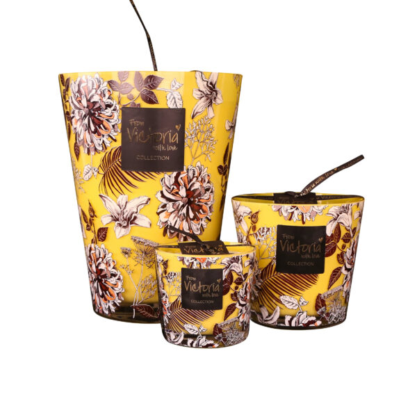Kaarsen candle kerze luxe online flower yellow